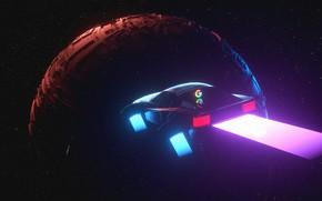 Картинка New Retro Wave, Планета, Космос, Ferrari, Illustration, 80s, Музыка, Неон, Фон, Стиль, Synthwave, Neon, Trey …