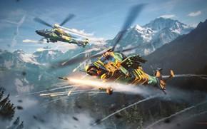 Картинка горы, вертолеты, ракеты, War Thunder, Attack Helicopter