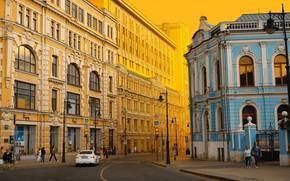 Картинка город, люди, улица, дома, утро, Москва