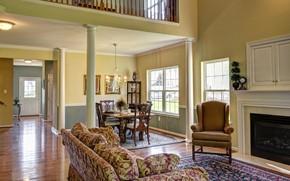 Картинка дизайн, стиль, интерьер, камин, гостиная, столовая