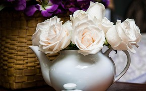 Картинка стиль, розы, чайник, белые