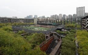 Картинка деревья, здания, ступени, площадка, West Village Basis Yard - Chengdu