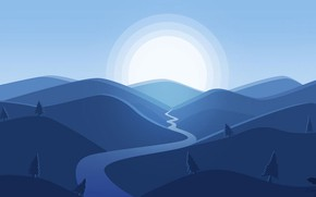 Картинка Blue, Mountain, Minimalism