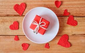 Картинка подарок, сердечки, Праздник, день влюблённых
