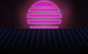 Картинка Солнце, Музыка, Космос, Звезда, Фон, 80s, 80's, Synth, Retrowave, Synthwave, New Retro Wave, Futuresynth, Синтвейв, …