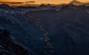 Картинка road, sky, landscape, Italy, nature, sunset, mountains, clouds, rocks, snow, valley, alps, Stelvio, far view