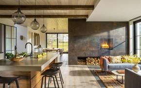 Картинка интерьер, кухня, печь, гостиная, столовая, Modern Farmhouse Vermont