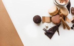 Обои кофе, шоколад, конфеты, корица, десерт, chocolate, coffee, Drink, Sweet, Macaroons