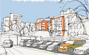 Картинка город, улица, рисунок