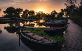 Картинка закат, лодки, valencia