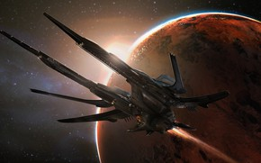 Картинка Звезды, Планета, Космос, Судно, Фантастика, Concept Art, Science Fiction, Transport & Vehicles, Eddie Del Rio, …