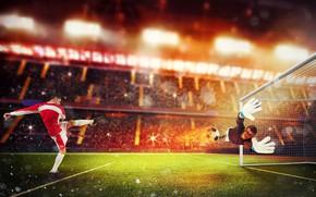 Картинка поле, огонь, газон, футбол, спорт, игра, шорты, мяч, скорость, ситуация, удар, перчатки, гольфы, вратарь, униформа, …