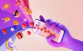 Картинка рендеринг, вектор, телефон, сердечко, смартфон, share love, поделись любовью