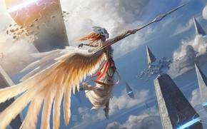 Картинка магия, доспехи, маска, пирамиды, рыжая, копьё, валькирия, в небе, valkyrie, белые крылья, by Pindurski