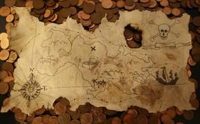Картинка карта, деньги, монеты