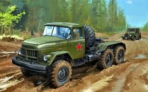 Обои Лес, СССР, ГАЗ-69, Грунтовая дорога, ЗиЛ-131В, Седельный тягач