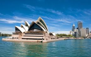 Картинка небо, солнце, деревья, берег, здания, дома, Австралия, залив, Сидней