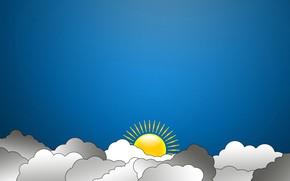 Обои Солнце, Небо, Облака, минимализм, Арт, madeinkipish