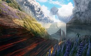 Картинка цветы, горы, люди, куб, The Great Divider