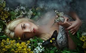 Обои дым, платье, Бабочки, лежит, Мария Липина, Катерина Ширяева