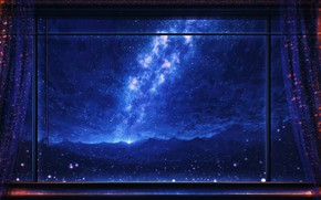 Картинка ночь, дождь, окно, млечный путь, by Miloecute