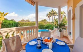 Картинка вилла, интерьер, бассейн, балкон, терраса, столовая, Costa de la Calma, Villa Margarita