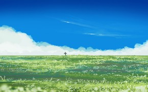 Картинка небо, цветы, поляна, крест