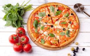 Картинка сыр, пицца, помидоры, оливки, специи, начинка