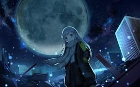 Картинка девушка, ночь, город, ветер, луна, шарф