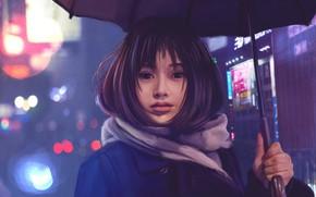 Картинка Девушка, Огни, Рисунок, Взгляд, Азиатка, Girl, Волосы, Глаза, Зонтик, Зонт, Брюнетка, Арт, Art, Brunette, Asian, …
