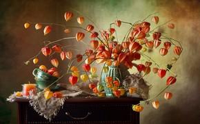 Картинка Kwiaty, Kompozycja, Wazon, Świeczka, Miechunki