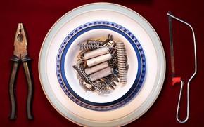 Картинка еда, тарелка, инструменты
