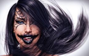 Картинка девушка, макияж, ужас