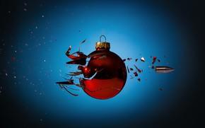 Картинка осколки, пуля, ёлочный шар