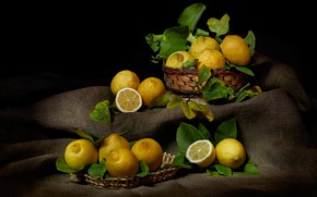 Картинка еда, фрукты, черный фон, натюрморт, предметы, много, мешковина, лимоны, композиция