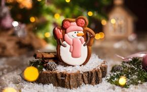 Картинка праздник, новый год, печенье, снеговик, фигурка, декор, Kukota Ekaterina