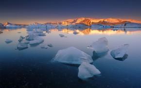 Картинка море, лёд, Исландия