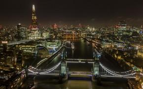 Картинка ночь, мост, город, огни, Лондон, Великобритания, Tower Bridge, London