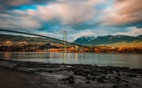 Картинка осень, лес, облака, горы, мост, камни, берег, Канада, водоем
