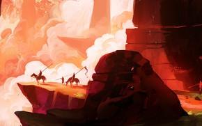 Картинка скалы, рисунок, лошади, фэнтези, арт, пропасть, воины, всадники