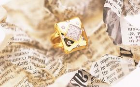 Картинка макро, золото, камень, кольцо, газета, украшение