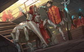 Картинка spider, girl, fantasy, weapon, anime, artwork, warrior, fantasy art, cyborg, cloak, creature, spear, halberd, Pixiv …