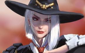Картинка girl, fantasy, game, hat, red eyes, digital art, artwork, fantasy art, Ashe, fantasy girl, Overwatch, …