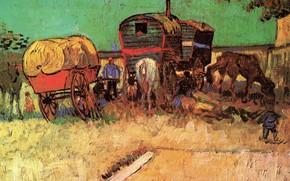 Картинка мальчик, лошади, повозки, Vincent van Gogh, with Caravans, Encampment of Gypsies