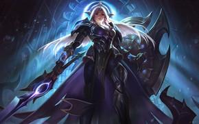 Картинка girl, sword, fantasy, game, armor, weapon, League of Legends, digital art, artwork, warrior, fantasy art, ...