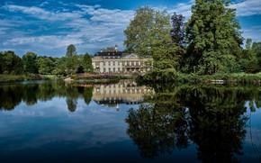 Картинка деревья, озеро, пруд, парк, отражение, Германия, Germany, дворец, Дворец Варлар, Rosendahl, Palace Varlar, Розендаль