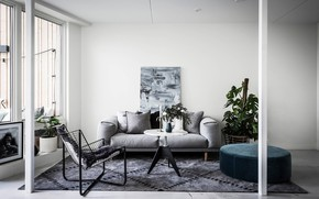 Картинка интерьер, гостиная, скандинавский стиль, Apartment in Stockholm
