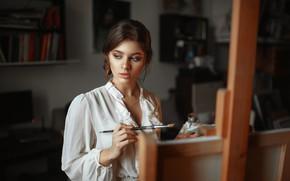 Картинка девушка, блузка, кисть, мольберт, Макс Кузин