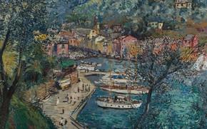 Картинка картина, городской пейзаж, Портофино, Микеле Кашелла, Michele Cascella