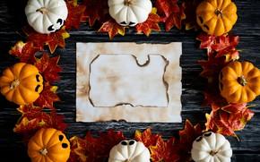 Обои осень, листья, фон, доски, colorful, Halloween, тыква, клен, wood, background, autumn, leaves, осенние, pumpkin, maple